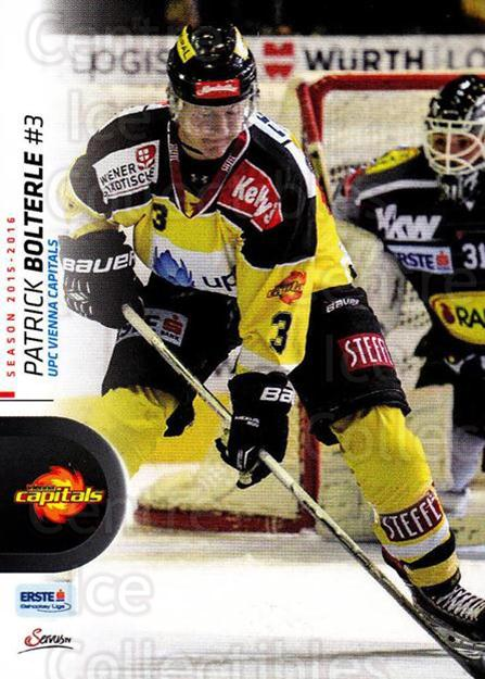 2015-16 Erste Bank Eishockey Liga EBEL #207 Patrick Bolterle<br/>2 In Stock - $2.00 each - <a href=https://centericecollectibles.foxycart.com/cart?name=2015-16%20Erste%20Bank%20Eishockey%20Liga%20EBEL%20%23207%20Patrick%20Bolterl...&quantity_max=2&price=$2.00&code=664699 class=foxycart> Buy it now! </a>