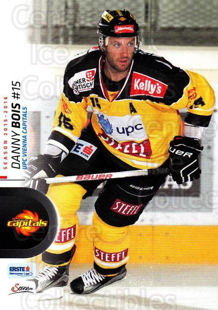 2015-16 Erste Bank Eishockey Liga EBEL #209 Danny Bois<br/>1 In Stock - $2.00 each - <a href=https://centericecollectibles.foxycart.com/cart?name=2015-16%20Erste%20Bank%20Eishockey%20Liga%20EBEL%20%23209%20Danny%20Bois...&quantity_max=1&price=$2.00&code=664701 class=foxycart> Buy it now! </a>