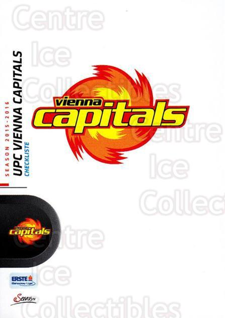 2015-16 Erste Bank Eishockey Liga EBEL #217 UPC Vienna Capitals, Checklist<br/>3 In Stock - $2.00 each - <a href=https://centericecollectibles.foxycart.com/cart?name=2015-16%20Erste%20Bank%20Eishockey%20Liga%20EBEL%20%23217%20UPC%20Vienna%20Capi...&quantity_max=3&price=$2.00&code=664709 class=foxycart> Buy it now! </a>