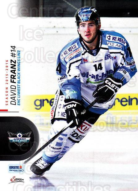 2015-16 Erste Bank Eishockey Liga EBEL #227 David Franz<br/>2 In Stock - $2.00 each - <a href=https://centericecollectibles.foxycart.com/cart?name=2015-16%20Erste%20Bank%20Eishockey%20Liga%20EBEL%20%23227%20David%20Franz...&quantity_max=2&price=$2.00&code=664719 class=foxycart> Buy it now! </a>
