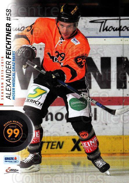 2015-16 Erste Bank Eishockey Liga EBEL #311 Alexander Feichtner<br/>3 In Stock - $2.00 each - <a href=https://centericecollectibles.foxycart.com/cart?name=2015-16%20Erste%20Bank%20Eishockey%20Liga%20EBEL%20%23311%20Alexander%20Feich...&price=$2.00&code=664803 class=foxycart> Buy it now! </a>