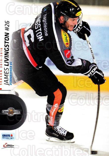 2015-16 Erste Bank Eishockey Liga EBEL #326 James Livingston<br/>1 In Stock - $2.00 each - <a href=https://centericecollectibles.foxycart.com/cart?name=2015-16%20Erste%20Bank%20Eishockey%20Liga%20EBEL%20%23326%20James%20Livingsto...&price=$2.00&code=664818 class=foxycart> Buy it now! </a>