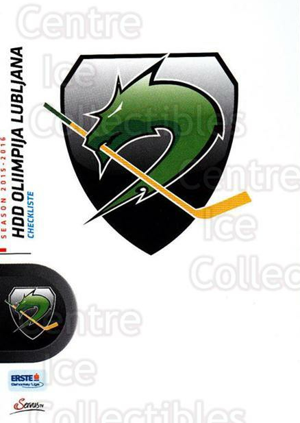 2015-16 Erste Bank Eishockey Liga EBEL #356 HDD Tilia Olimpija Ljubljana, Checklist<br/>2 In Stock - $2.00 each - <a href=https://centericecollectibles.foxycart.com/cart?name=2015-16%20Erste%20Bank%20Eishockey%20Liga%20EBEL%20%23356%20HDD%20Tilia%20Olimp...&quantity_max=2&price=$2.00&code=664848 class=foxycart> Buy it now! </a>