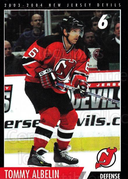 2003-04 New Jersey Devils Team Issue #1 Tommy Albelin<br/>3 In Stock - $3.00 each - <a href=https://centericecollectibles.foxycart.com/cart?name=2003-04%20New%20Jersey%20Devils%20Team%20Issue%20%231%20Tommy%20Albelin...&quantity_max=3&price=$3.00&code=666001 class=foxycart> Buy it now! </a>