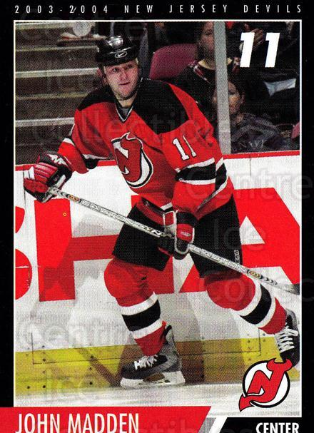 2003-04 New Jersey Devils Team Issue #20 John Madden<br/>3 In Stock - $3.00 each - <a href=https://centericecollectibles.foxycart.com/cart?name=2003-04%20New%20Jersey%20Devils%20Team%20Issue%20%2320%20John%20Madden...&quantity_max=3&price=$3.00&code=666020 class=foxycart> Buy it now! </a>