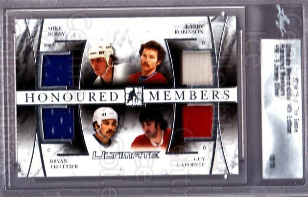 2014-15 ITG Ultimate Memorabilia Honoured Members #9 Mike Bossy, Larry Robinson, Bryan Trottier, Guy Lapointe<br/>1 In Stock - $40.00 each - <a href=https://centericecollectibles.foxycart.com/cart?name=2014-15%20ITG%20Ultimate%20Memorabilia%20Honoured%20Members%20%239%20Mike%20Bossy,%20Lar...&price=$40.00&code=666363 class=foxycart> Buy it now! </a>