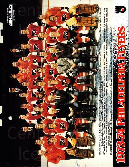 1993-94 Philadelphia Flyers Line-Up Cards #32 Philadelphia Flyers, Team Photo<br/>1 In Stock - $10.00 each - <a href=https://centericecollectibles.foxycart.com/cart?name=1993-94%20Philadelphia%20Flyers%20Line-Up%20Cards%20%2332%20Philadelphia%20Fl...&price=$10.00&code=667558 class=foxycart> Buy it now! </a>