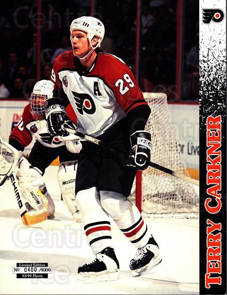 1993-94 Philadelphia Flyers Line-Up Cards #40 Terry Carkner<br/>1 In Stock - $10.00 each - <a href=https://centericecollectibles.foxycart.com/cart?name=1993-94%20Philadelphia%20Flyers%20Line-Up%20Cards%20%2340%20Terry%20Carkner...&quantity_max=1&price=$10.00&code=667566 class=foxycart> Buy it now! </a>