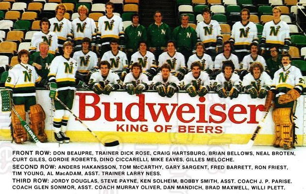 1982-83 Minnesota North Stars Postcards #25 Team Photo, Minnesota North Stars<br/>1 In Stock - $3.00 each - <a href=https://centericecollectibles.foxycart.com/cart?name=1982-83%20Minnesota%20North%20Stars%20Postcards%20%2325%20Team%20Photo,%20Min...&price=$3.00&code=668071 class=foxycart> Buy it now! </a>