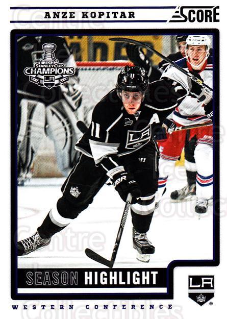 2012-13 Score #3 Anze Kopitar<br/>1 In Stock - $1.00 each - <a href=https://centericecollectibles.foxycart.com/cart?name=2012-13%20Score%20%233%20Anze%20Kopitar...&quantity_max=1&price=$1.00&code=668301 class=foxycart> Buy it now! </a>