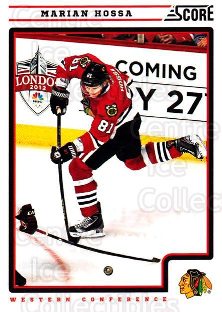 2012-13 Score #120 Marian Hossa<br/>2 In Stock - $1.00 each - <a href=https://centericecollectibles.foxycart.com/cart?name=2012-13%20Score%20%23120%20Marian%20Hossa...&quantity_max=2&price=$1.00&code=668418 class=foxycart> Buy it now! </a>
