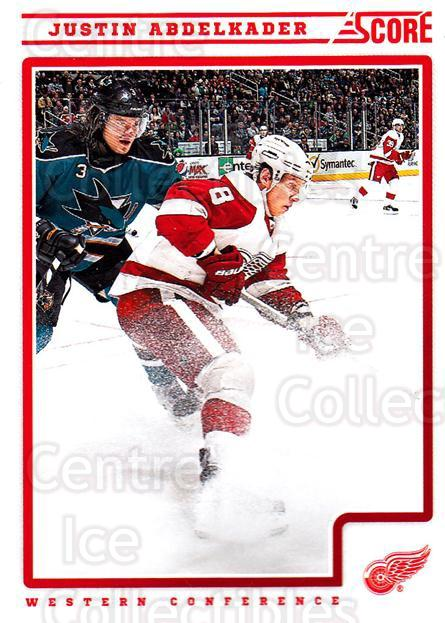 2012-13 Score #189 Justin Abdelkader<br/>2 In Stock - $1.00 each - <a href=https://centericecollectibles.foxycart.com/cart?name=2012-13%20Score%20%23189%20Justin%20Abdelkad...&quantity_max=2&price=$1.00&code=668487 class=foxycart> Buy it now! </a>