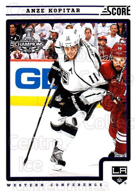2012-13 Score #221 Anze Kopitar<br/>2 In Stock - $1.00 each - <a href=https://centericecollectibles.foxycart.com/cart?name=2012-13%20Score%20%23221%20Anze%20Kopitar...&quantity_max=2&price=$1.00&code=668519 class=foxycart> Buy it now! </a>