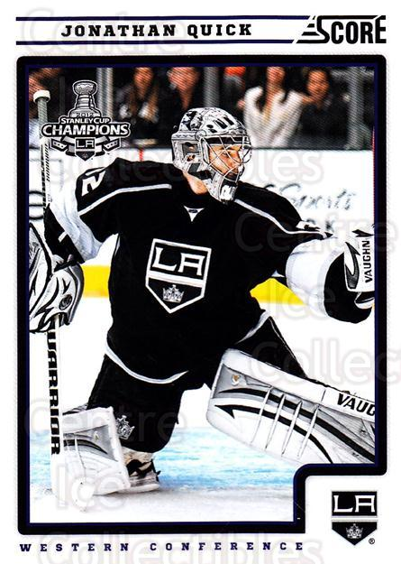 2012-13 Score #224 Jonathan Quick<br/>1 In Stock - $1.00 each - <a href=https://centericecollectibles.foxycart.com/cart?name=2012-13%20Score%20%23224%20Jonathan%20Quick...&quantity_max=1&price=$1.00&code=668522 class=foxycart> Buy it now! </a>