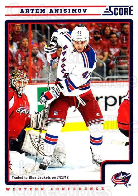 2012-13 Score #319 Artem Anisimov<br/>2 In Stock - $1.00 each - <a href=https://centericecollectibles.foxycart.com/cart?name=2012-13%20Score%20%23319%20Artem%20Anisimov...&quantity_max=2&price=$1.00&code=668617 class=foxycart> Buy it now! </a>