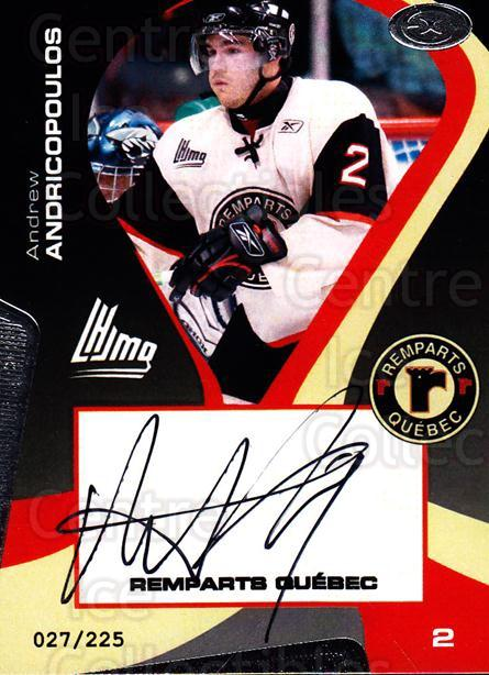 2005-06 Quebec Remparts Autographed #6 Andrew Andricopoulos<br/>2 In Stock - $5.00 each - <a href=https://centericecollectibles.foxycart.com/cart?name=2005-06%20Quebec%20Remparts%20Autographed%20%236%20Andrew%20Andricop...&price=$5.00&code=668980 class=foxycart> Buy it now! </a>
