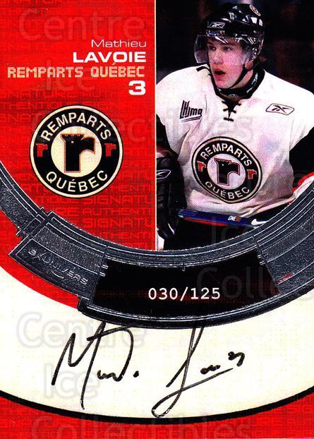 2006-07 Quebec Remparts Autographed #24 Mathieu Lavoie<br/>1 In Stock - $5.00 each - <a href=https://centericecollectibles.foxycart.com/cart?name=2006-07%20Quebec%20Remparts%20Autographed%20%2324%20Mathieu%20Lavoie...&price=$5.00&code=669023 class=foxycart> Buy it now! </a>