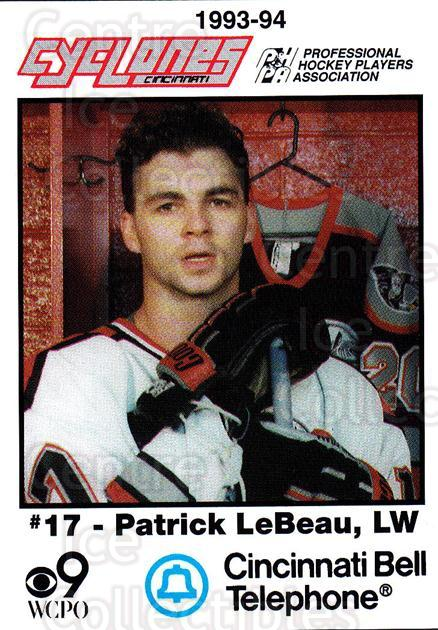 1993-94 Cincinnati Cyclones #15 Patrick LeBeau<br/>2 In Stock - $3.00 each - <a href=https://centericecollectibles.foxycart.com/cart?name=1993-94%20Cincinnati%20Cyclones%20%2315%20Patrick%20LeBeau...&quantity_max=2&price=$3.00&code=669092 class=foxycart> Buy it now! </a>