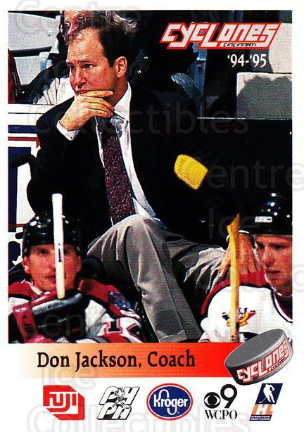 1994-95 Cincinnati Cyclones #12 Don Jackson<br/>1 In Stock - $3.00 each - <a href=https://centericecollectibles.foxycart.com/cart?name=1994-95%20Cincinnati%20Cyclones%20%2312%20Don%20Jackson...&quantity_max=1&price=$3.00&code=669106 class=foxycart> Buy it now! </a>