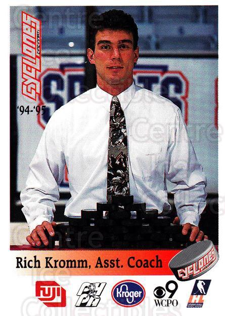 1994-95 Cincinnati Cyclones #16 Rich Kromm<br/>1 In Stock - $3.00 each - <a href=https://centericecollectibles.foxycart.com/cart?name=1994-95%20Cincinnati%20Cyclones%20%2316%20Rich%20Kromm...&quantity_max=1&price=$3.00&code=669110 class=foxycart> Buy it now! </a>