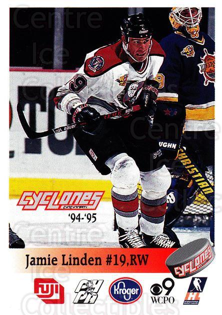 1994-95 Cincinnati Cyclones #20 Jamie Linden<br/>1 In Stock - $3.00 each - <a href=https://centericecollectibles.foxycart.com/cart?name=1994-95%20Cincinnati%20Cyclones%20%2320%20Jamie%20Linden...&quantity_max=1&price=$3.00&code=669114 class=foxycart> Buy it now! </a>