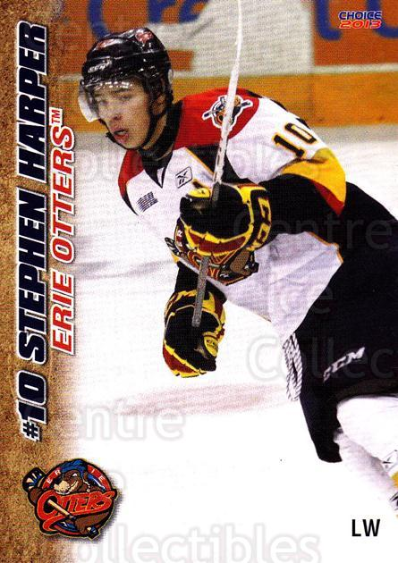 2012-13 Erie Otters #13 Stephen Harper<br/>7 In Stock - $3.00 each - <a href=https://centericecollectibles.foxycart.com/cart?name=2012-13%20Erie%20Otters%20%2313%20Stephen%20Harper...&price=$3.00&code=669267 class=foxycart> Buy it now! </a>