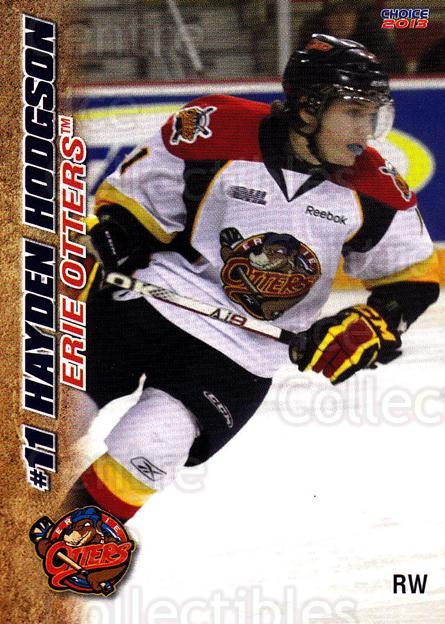 2012-13 Erie Otters #14 Hayden Hodgson<br/>6 In Stock - $3.00 each - <a href=https://centericecollectibles.foxycart.com/cart?name=2012-13%20Erie%20Otters%20%2314%20Hayden%20Hodgson...&price=$3.00&code=669268 class=foxycart> Buy it now! </a>