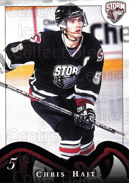 1997-98 Guelph Storm #7 Chris Hajt<br/>1 In Stock - $3.00 each - <a href=https://centericecollectibles.foxycart.com/cart?name=1997-98%20Guelph%20Storm%20%237%20Chris%20Hajt...&quantity_max=1&price=$3.00&code=669288 class=foxycart> Buy it now! </a>