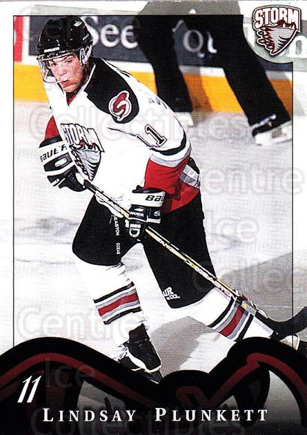1997-98 Guelph Storm #13 Lindsay Plunkett<br/>1 In Stock - $3.00 each - <a href=https://centericecollectibles.foxycart.com/cart?name=1997-98%20Guelph%20Storm%20%2313%20Lindsay%20Plunket...&quantity_max=1&price=$3.00&code=669294 class=foxycart> Buy it now! </a>