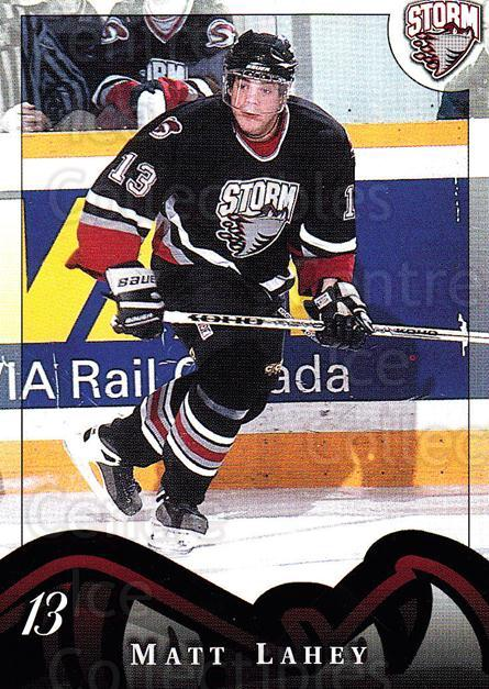 1997-98 Guelph Storm #15 Matt Lahey<br/>1 In Stock - $3.00 each - <a href=https://centericecollectibles.foxycart.com/cart?name=1997-98%20Guelph%20Storm%20%2315%20Matt%20Lahey...&quantity_max=1&price=$3.00&code=669296 class=foxycart> Buy it now! </a>