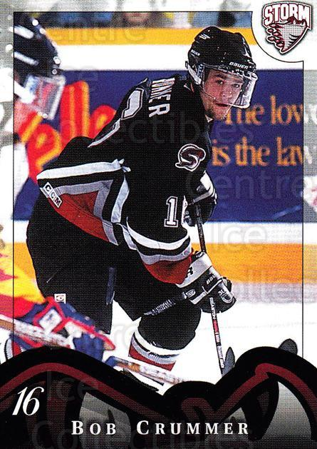 1997-98 Guelph Storm #17 Bob Crummer<br/>1 In Stock - $3.00 each - <a href=https://centericecollectibles.foxycart.com/cart?name=1997-98%20Guelph%20Storm%20%2317%20Bob%20Crummer...&quantity_max=1&price=$3.00&code=669298 class=foxycart> Buy it now! </a>