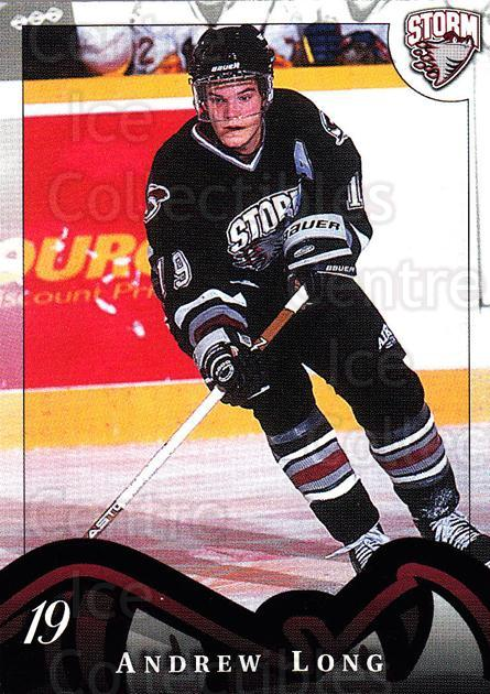 1997-98 Guelph Storm #18 Andrew Long<br/>1 In Stock - $3.00 each - <a href=https://centericecollectibles.foxycart.com/cart?name=1997-98%20Guelph%20Storm%20%2318%20Andrew%20Long...&quantity_max=1&price=$3.00&code=669299 class=foxycart> Buy it now! </a>