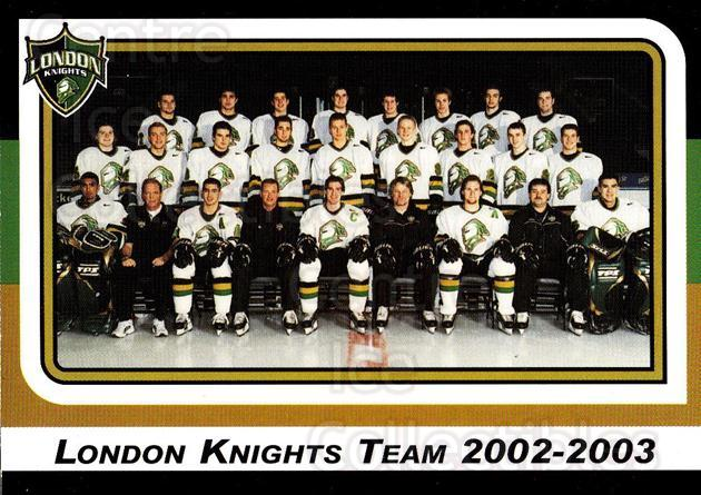2002-03 London Knights #1 Team Photo, Checklist<br/>9 In Stock - $2.00 each - <a href=https://centericecollectibles.foxycart.com/cart?name=2002-03%20London%20Knights%20%231%20Team%20Photo,%20Che...&price=$2.00&code=669332 class=foxycart> Buy it now! </a>