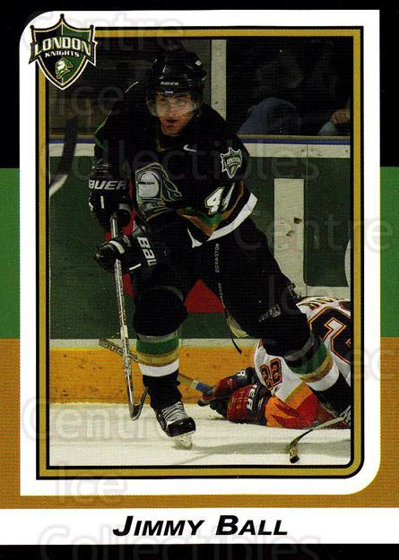 2002-03 London Knights #18 Jimmy Ball<br/>9 In Stock - $3.00 each - <a href=https://centericecollectibles.foxycart.com/cart?name=2002-03%20London%20Knights%20%2318%20Jimmy%20Ball...&quantity_max=9&price=$3.00&code=669349 class=foxycart> Buy it now! </a>