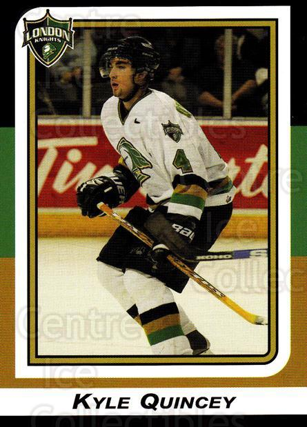 2002-03 London Knights #19 Kyle Quincey<br/>10 In Stock - $3.00 each - <a href=https://centericecollectibles.foxycart.com/cart?name=2002-03%20London%20Knights%20%2319%20Kyle%20Quincey...&quantity_max=10&price=$3.00&code=669350 class=foxycart> Buy it now! </a>