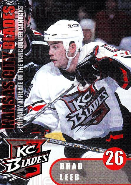 2000-01 Kansas City Blades #18 Brad Leeb<br/>1 In Stock - $3.00 each - <a href=https://centericecollectibles.foxycart.com/cart?name=2000-01%20Kansas%20City%20Blades%20%2318%20Brad%20Leeb...&quantity_max=1&price=$3.00&code=669374 class=foxycart> Buy it now! </a>