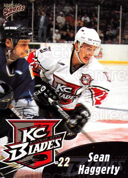 1999-00 Kansas City Blades #8 Sean Haggerty<br/>1 In Stock - $3.00 each - <a href=https://centericecollectibles.foxycart.com/cart?name=1999-00%20Kansas%20City%20Blades%20%238%20Sean%20Haggerty...&quantity_max=1&price=$3.00&code=669383 class=foxycart> Buy it now! </a>