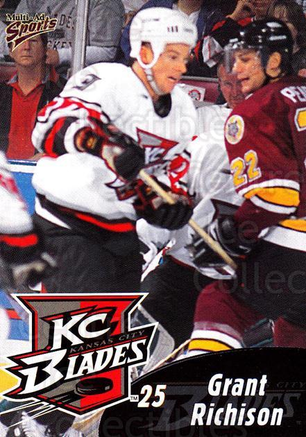 1999-00 Kansas City Blades #16 Grant Richison<br/>1 In Stock - $3.00 each - <a href=https://centericecollectibles.foxycart.com/cart?name=1999-00%20Kansas%20City%20Blades%20%2316%20Grant%20Richison...&quantity_max=1&price=$3.00&code=669391 class=foxycart> Buy it now! </a>