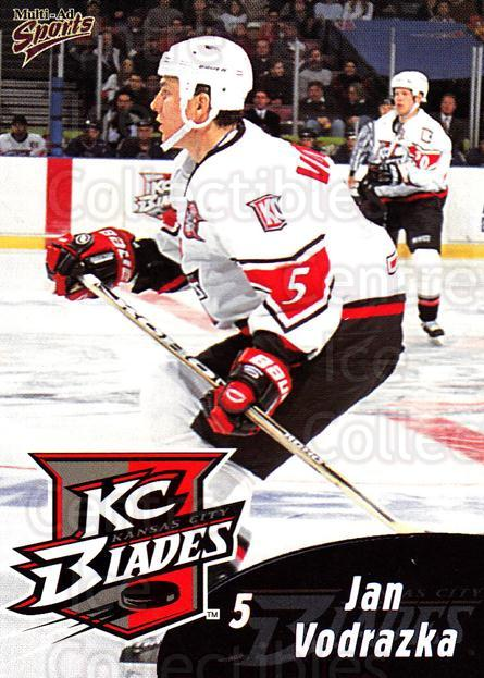 1999-00 Kansas City Blades #20 Jan Vodrazka<br/>1 In Stock - $3.00 each - <a href=https://centericecollectibles.foxycart.com/cart?name=1999-00%20Kansas%20City%20Blades%20%2320%20Jan%20Vodrazka...&quantity_max=1&price=$3.00&code=669395 class=foxycart> Buy it now! </a>