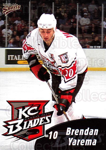 1999-00 Kansas City Blades #22 Brendan Yarema<br/>1 In Stock - $3.00 each - <a href=https://centericecollectibles.foxycart.com/cart?name=1999-00%20Kansas%20City%20Blades%20%2322%20Brendan%20Yarema...&quantity_max=1&price=$3.00&code=669397 class=foxycart> Buy it now! </a>