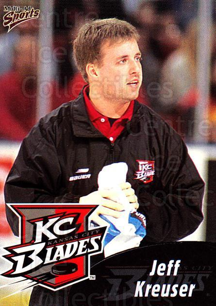 1999-00 Kansas City Blades #24 Jeff Kreuser<br/>1 In Stock - $3.00 each - <a href=https://centericecollectibles.foxycart.com/cart?name=1999-00%20Kansas%20City%20Blades%20%2324%20Jeff%20Kreuser...&quantity_max=1&price=$3.00&code=669399 class=foxycart> Buy it now! </a>