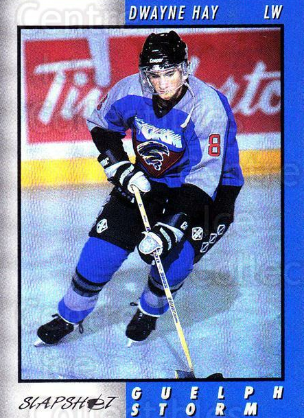 1994-95 Guelph Storm #9 Dwayne Hay<br/>1 In Stock - $3.00 each - <a href=https://centericecollectibles.foxycart.com/cart?name=1994-95%20Guelph%20Storm%20%239%20Dwayne%20Hay...&quantity_max=1&price=$3.00&code=669440 class=foxycart> Buy it now! </a>