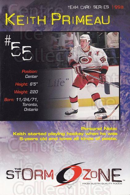 1998-99 Carolina Hurricanes Storm Zone Postcards #22 Keith Primeau<br/>4 In Stock - $3.00 each - <a href=https://centericecollectibles.foxycart.com/cart?name=1998-99%20Carolina%20Hurricanes%20Storm%20Zone%20Postcards%20%2322%20Keith%20Primeau...&quantity_max=4&price=$3.00&code=66965 class=foxycart> Buy it now! </a>