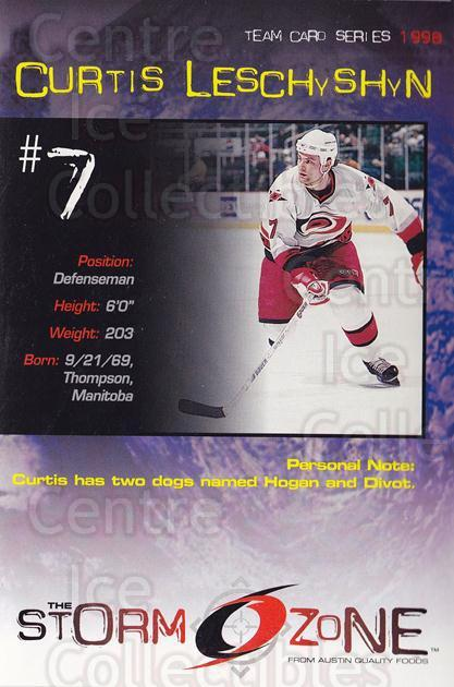 1998-99 Carolina Hurricanes Storm Zone Postcards #6 Curtis Leschyshyn<br/>3 In Stock - $3.00 each - <a href=https://centericecollectibles.foxycart.com/cart?name=1998-99%20Carolina%20Hurricanes%20Storm%20Zone%20Postcards%20%236%20Curtis%20Leschysh...&quantity_max=3&price=$3.00&code=66969 class=foxycart> Buy it now! </a>