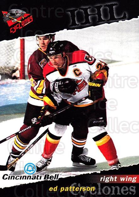 1998-99 Cincinnati Cyclones #3 Ed Patterson<br/>2 In Stock - $3.00 each - <a href=https://centericecollectibles.foxycart.com/cart?name=1998-99%20Cincinnati%20Cyclones%20%233%20Ed%20Patterson...&quantity_max=2&price=$3.00&code=67005 class=foxycart> Buy it now! </a>