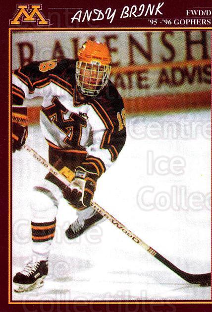 1995-96 Minnesota Golden Gophers #8 Andy Brink<br/>1 In Stock - $3.00 each - <a href=https://centericecollectibles.foxycart.com/cart?name=1995-96%20Minnesota%20Golden%20Gophers%20%238%20Andy%20Brink...&quantity_max=1&price=$3.00&code=670087 class=foxycart> Buy it now! </a>
