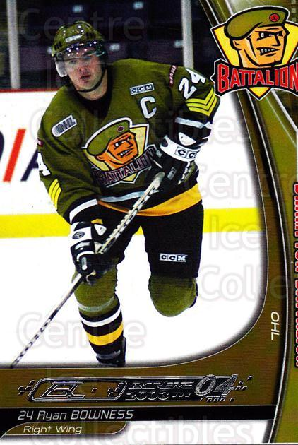 2003-04 Brampton Battalion #1 Ryan Bowness<br/>1 In Stock - $3.00 each - <a href=https://centericecollectibles.foxycart.com/cart?name=2003-04%20Brampton%20Battalion%20%231%20Ryan%20Bowness...&price=$3.00&code=670230 class=foxycart> Buy it now! </a>