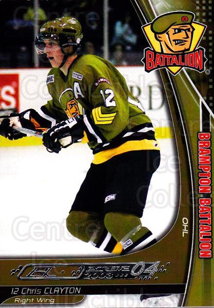 2003-04 Brampton Battalion #2 Chris Clayton<br/>1 In Stock - $3.00 each - <a href=https://centericecollectibles.foxycart.com/cart?name=2003-04%20Brampton%20Battalion%20%232%20Chris%20Clayton...&price=$3.00&code=670231 class=foxycart> Buy it now! </a>