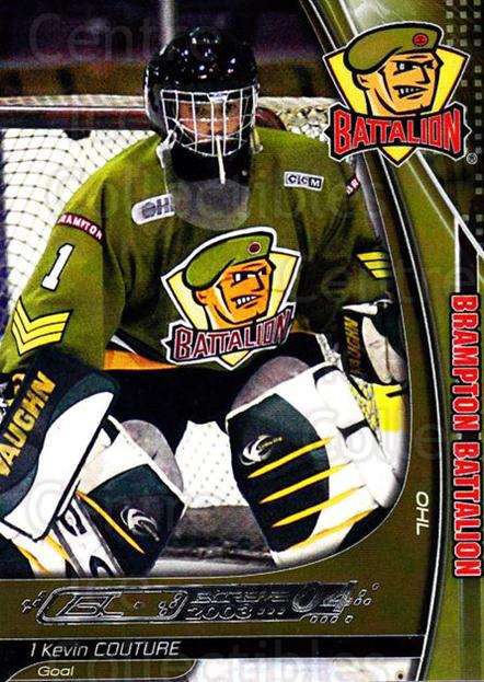 2003-04 Brampton Battalion #3 Kevin Couture<br/>1 In Stock - $3.00 each - <a href=https://centericecollectibles.foxycart.com/cart?name=2003-04%20Brampton%20Battalion%20%233%20Kevin%20Couture...&price=$3.00&code=670232 class=foxycart> Buy it now! </a>