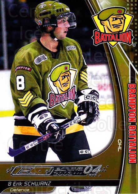2003-04 Brampton Battalion #18 Erik Schwanz<br/>1 In Stock - $3.00 each - <a href=https://centericecollectibles.foxycart.com/cart?name=2003-04%20Brampton%20Battalion%20%2318%20Erik%20Schwanz...&price=$3.00&code=670247 class=foxycart> Buy it now! </a>